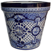 Medium-Sized Cocucho Mexican Colors Talavera Ceramic Garden Pot