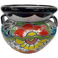 Small-Sized Paracho Mexican Colors Talavera Ceramic Garden Pot