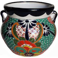 Medium-Sized Paracho Mexican Colors Talavera Ceramic Garden Pot