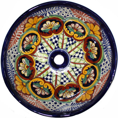 Greca C Round Ceramic Talavera Vessel Sink Close-Up