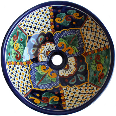 Janitzio Round Ceramic Talavera Vessel Sink Close-Up