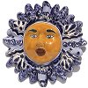 Small-Sized Blue Mexican Talavera Ceramic Sun Face