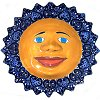 Large-Sized Blue Mexican Talavera Ceramic Sun Face