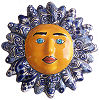 Medium-Sized Blue Mexican Talavera Ceramic Sun Face