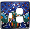 Blue Mesh Talavera Toggle-Outlet Switch Plate