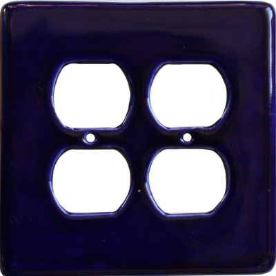 Cobalt Blue Talavera Double Outlet Wall Plate