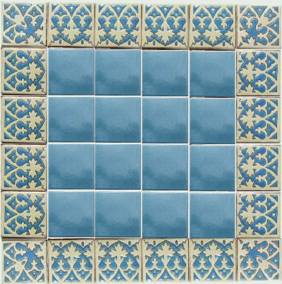 Alhambra French Blue Talavera Mexican Tile Details