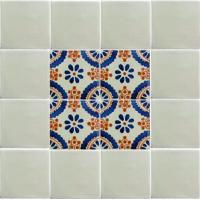 Blue Madrid Talavera Mexican Tile Close-Up
