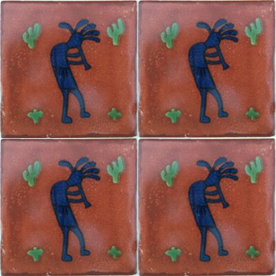 Kokopelli Talavera Mexican Tile Close-Up