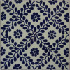 Meshed Blue Leaves Talavera Mexican Tile