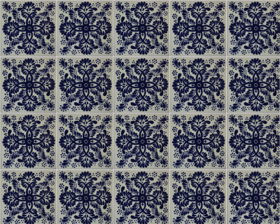 Blue Web Talavera Mexican Tile Close-Up