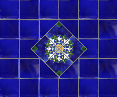 Alhambra Cobalt Blue Mexican Tile Close-Up
