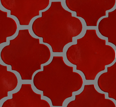 Lantern Red Mexican Tile Close-Up