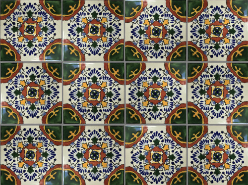 Gerona Talavera Mexican Tile Close-Up