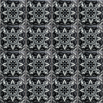 Black Romalio Talavera Mexican Tile Close-Up