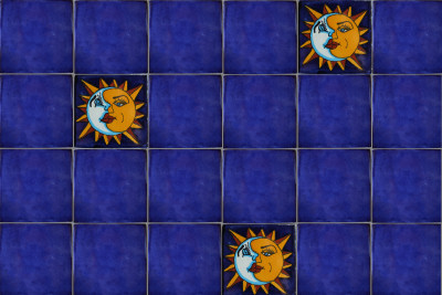 Sun and Moon Talavera Mexican Tile Details