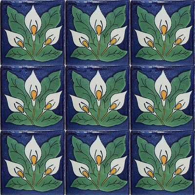 Three-Lily Talavera Mexican Tile Close-Up