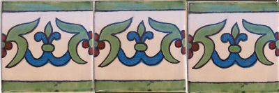 White Liz Flower Talavera Mexican Tile Close-Up